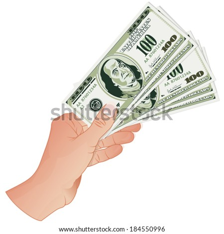 Woman's Hand with Five Hundred Dollar Banknotes, vector isolated on white background - stock vector