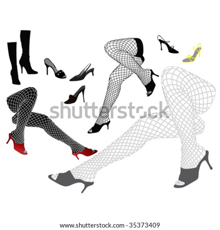 Woman's legs in sexy stockings with shoes - stock vector