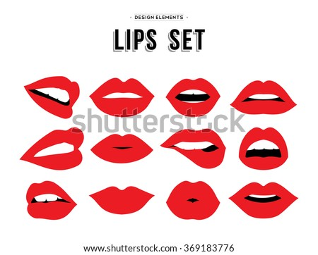Woman's lip gestures set. Girl mouths close up with red lipstick makeup expressing different emotions. EPS10 vector. - stock vector
