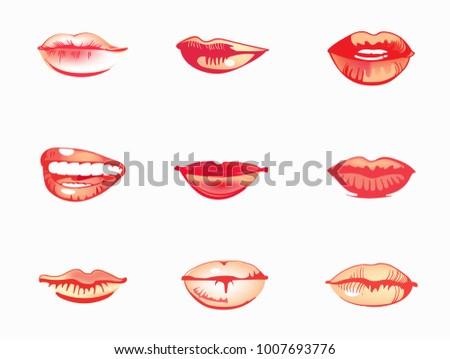 Woman's lip set. Girl mouths close up with red lipstick makeup. Vector illustration