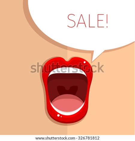 Woman's mouth with open red lips. Vector Illustration. - stock vector