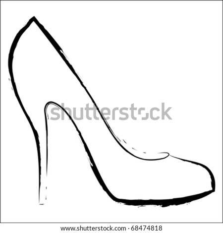 Woman's shoe, vector sketch - stock vector