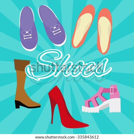 woman shoes vector set illustration in flat style things like high heels, flat shoes, boots, sneaker from top - stock vector
