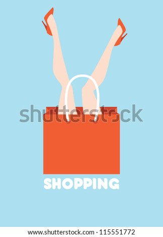 woman shopping funny poster vector illustration eps 10 - stock vector