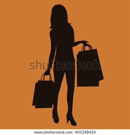 Vector Illustration Young Women Silhouette Walking Stock ...