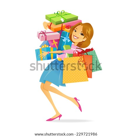 Woman Shopping Woman carrying lots of shopping bags - stock vector