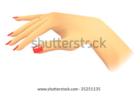 Woman showing her ring, slim fingers, red nails - stock vector