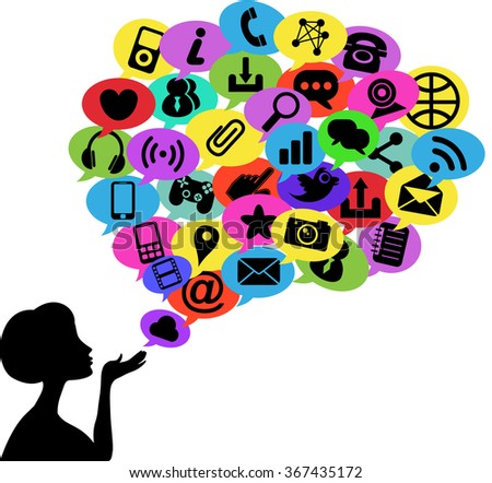 Woman silhouette blowing speech bubble made of  communication icons isolated - stock vector
