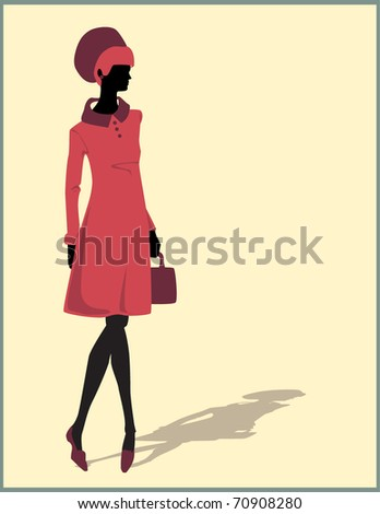 woman silhouette illustration with a bag - stock vector