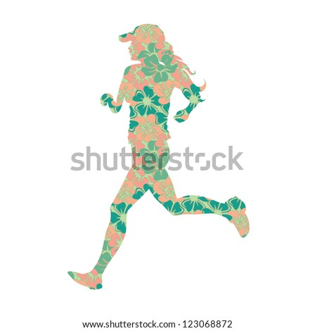 woman silhouette in flowers running vector illustration - stock vector