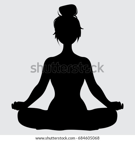 Woman Silhouette Lotus Yoga Pose Vector Stock Royalty Free 684605068