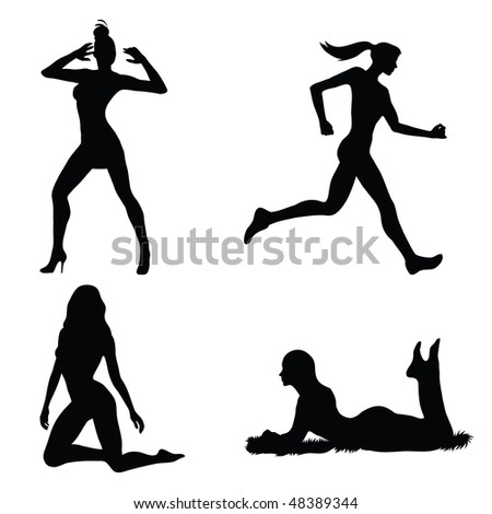 Woman silhouette set (vector)in the gallery also available vector version of this image - stock vector