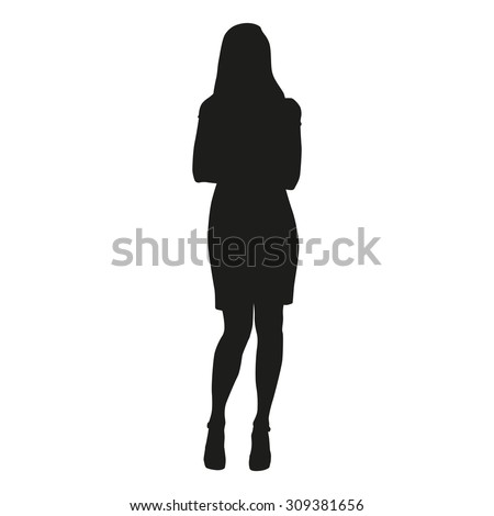 Woman silhouette with folded arms - stock vector