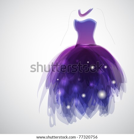 Woman silhouette with gorgeous bride's dress - stock vector