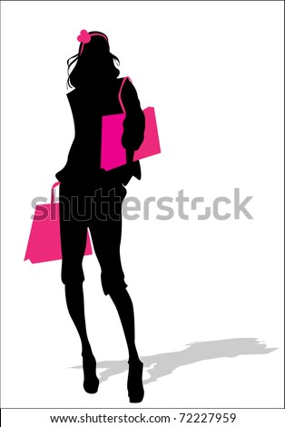 Woman silhouette with  shopping bag - stock vector