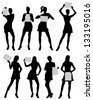Woman silhouettes with paper - stock vector