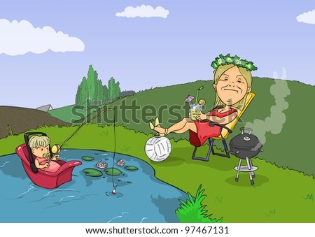 Woman sits comfortably in a chair by the pond - stock vector