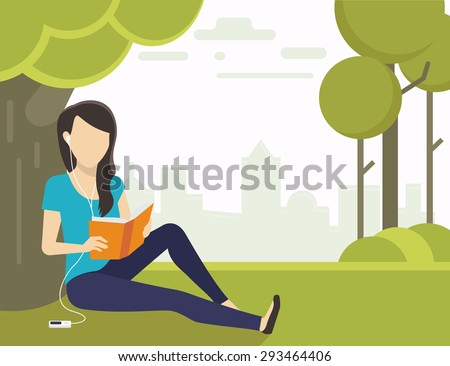 Woman sitting on grass in the park and reading a book and listening to music - stock vector