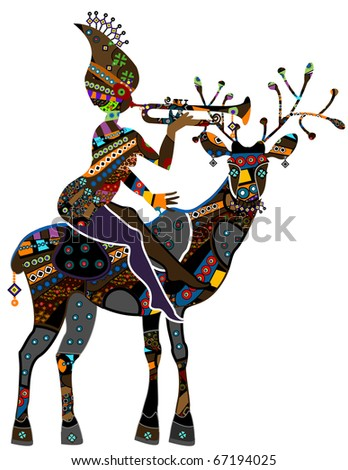 woman sitting on the back of a reindeer in vintage style - stock vector
