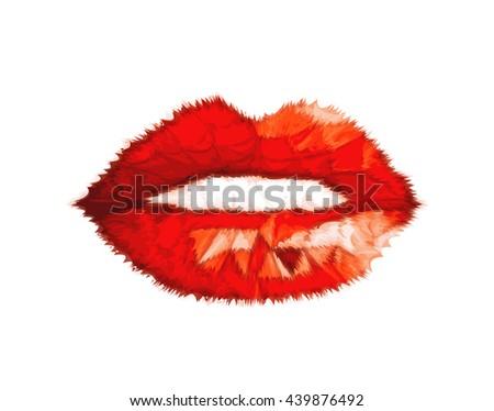 Woman sketch lips easy all editable - stock vector