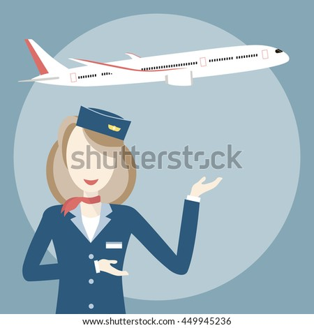 Woman smiling stewardess on the background of airplane. Vector illustration flat design. Travel concept - stock vector