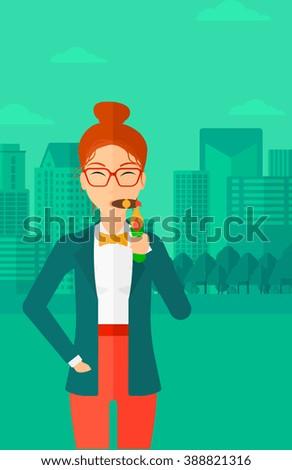 Woman smoking cigar. - stock vector