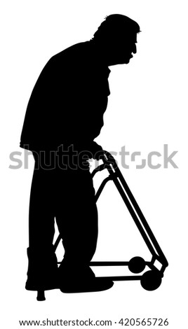 Woman social worker strolling with elder man in wheelchair. Vector silhouettes of man in a wheelchair on a white background.