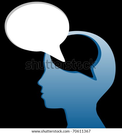 Woman speaks piece of her mind in social media speech bubble cut out of her head - stock vector