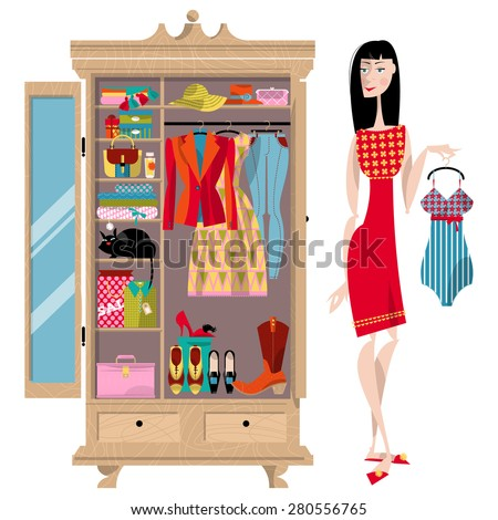 Woman Standing Near Open Wardrobe Closet Stock Vector Royalty Free 280556765