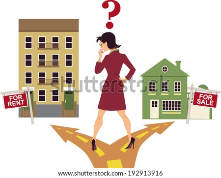 Woman standing on a crossroad, deciding to rent an apartment or to buy a house, question mark above her head, vector illustration - stock vector
