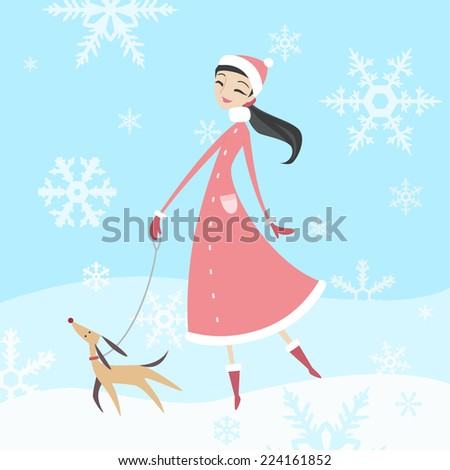 woman taking her dog for a walk in winter time with her pure breed dog. - stock vector