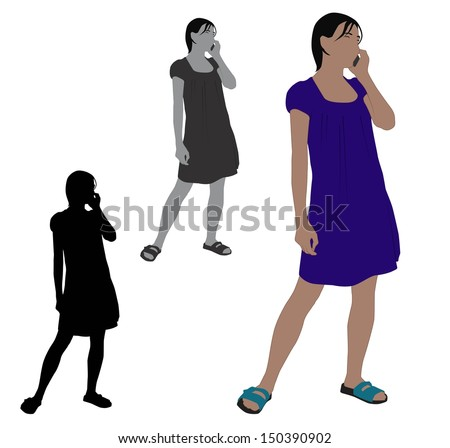 Woman talking on a mobile phone - stock vector