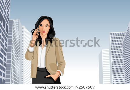 Woman talking on cellphone with city on the background - stock vector