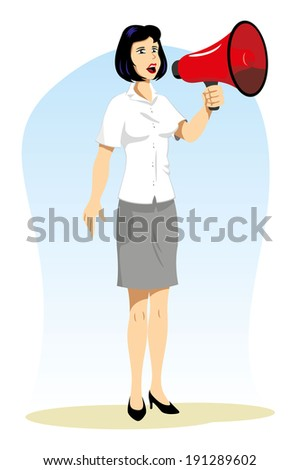 woman talking on the megaphone