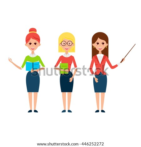 Woman Teacher Characters. Flat Style Vector Illustration of Business People Lecturer isolated over White. - stock vector