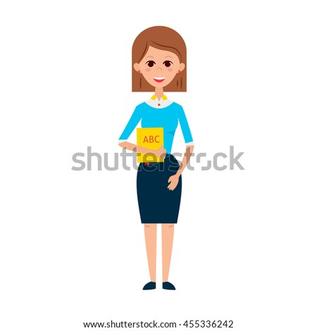 Woman Teacher with Book. Flat Style Vector Illustration of People Professor Character isolated over White. - stock vector