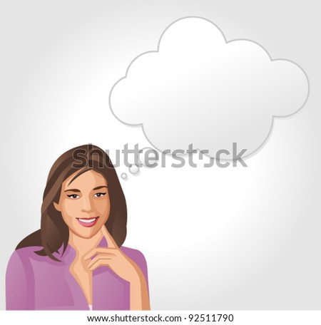 Woman thinking - stock vector
