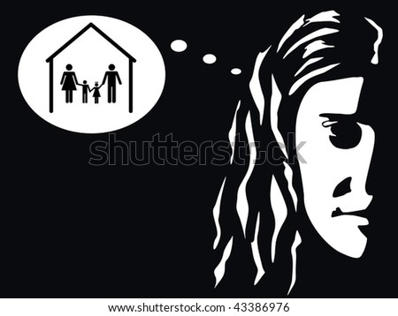 woman thinking of family vector - stock vector