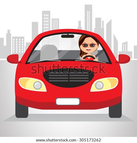 Woman traveling in car on cityscape. Vector illustration of a pretty woman driving in the city. - stock vector