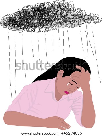 Woman under stormy rainy clouds on white background. Concept illustration about sadness and depression. - stock vector
