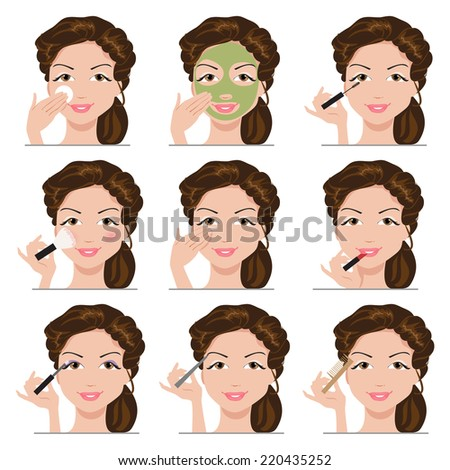 Woman using different tools to apply her make-up - stock vector