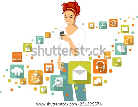 Woman using smartphone. Around - social, media, web icons in flat style - stock vector