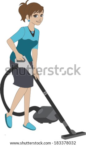 Woman Vacuuming Floor - stock vector