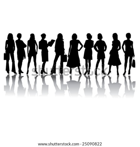 Woman vector silhouettes in different poses - stock vector