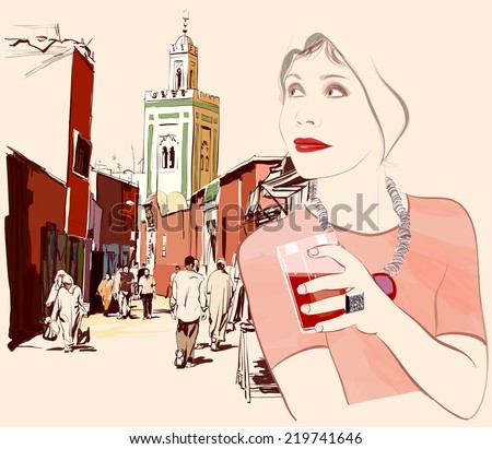 Woman visiting Marrakesh in Morocco - Vector illustration - stock vector