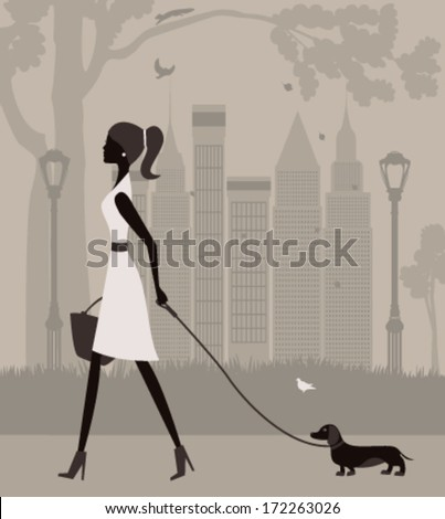 Woman walking with a dog in the park. Vector - stock vector