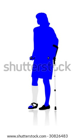 woman walking with crutches - stock vector