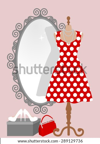 Woman wardrobe accessories set - all occasion pin up red polka dot dress on mannequin in front of decorative vintage frame mirror, lady purse, high heel shoes on box. vector art illustration, isolated - stock vector