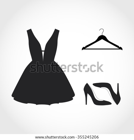 Woman wardrobe accessories set. collection of black dress, hanger and shoes. high heel shoes. fashion boutique. vector art illustration isolated on background - stock vector