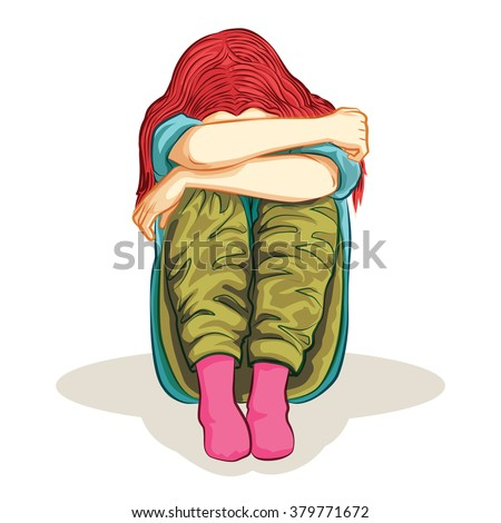 woman was lonely feel cartoon vector - stock vector